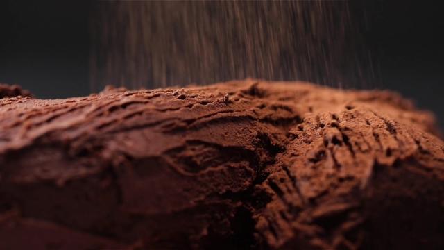 Dusting log cake with milo powder