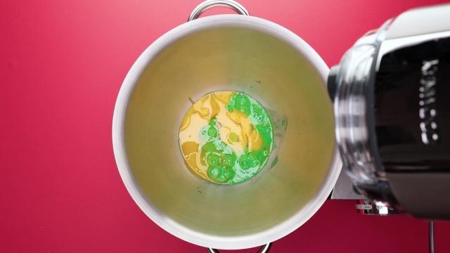 Egg yolk mixture for Chendol log cake in mixing bowl