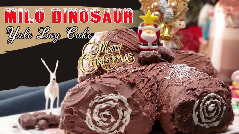 Milo Dinosaur Yule Log Cake