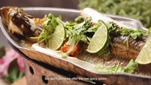 Steamed seabass with thai lime sauce, tender meat, fresh produce, best seabass in singapore
