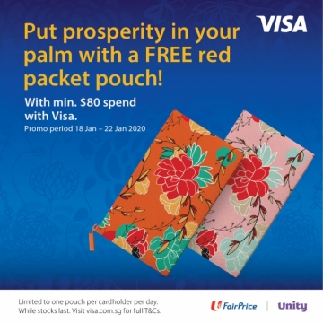 FairPrice NTUC CNY 2020 Free Red Packet Pouch