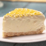 A slice of Manuka Honey Lemon Cheesecake