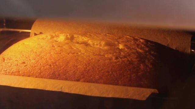 Lemon loaf cake baking in oven
