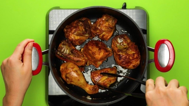 Frying chicken in a pot