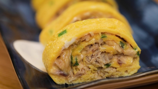 tamagoyaki filled with canned mackerel saba fish