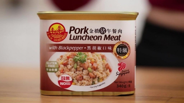 Golden bridge black pepper flavour luncheon meat can