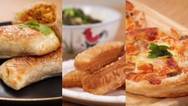 3 smart and easy frozen prata recipes curry puff, prata youtiao, prata pizza