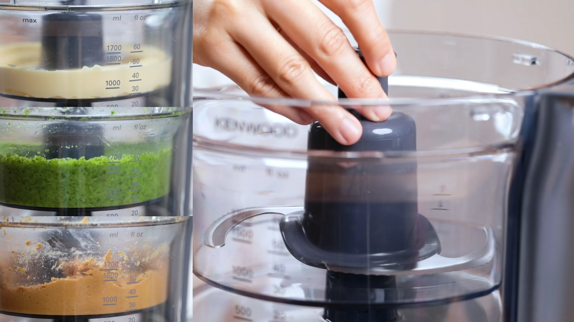 Use the smaller bowl (1.7L) to process smaller portion of food