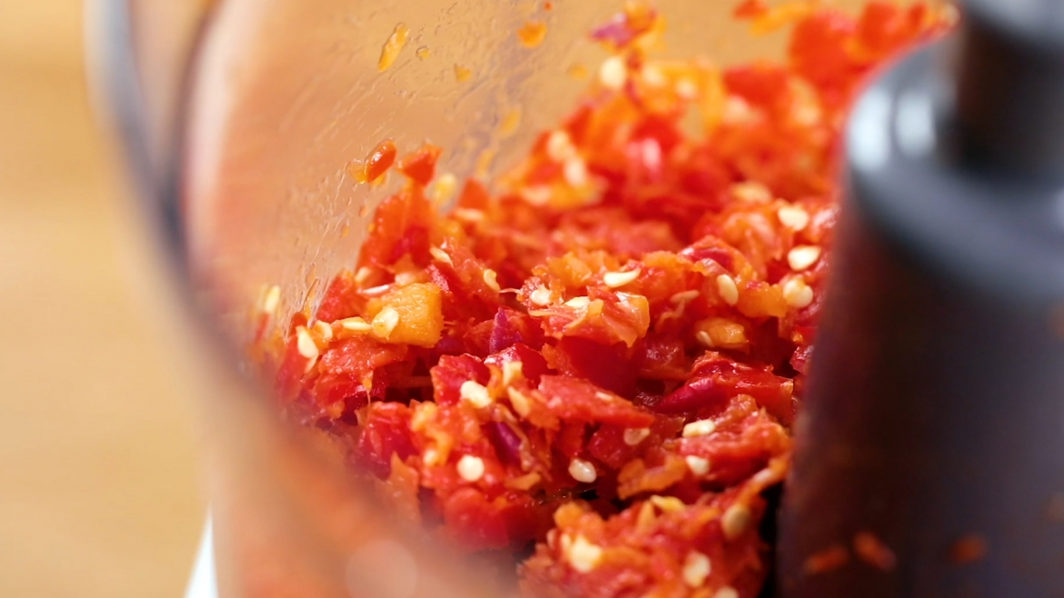Finely chopped sambal chilli ingredients using food processor