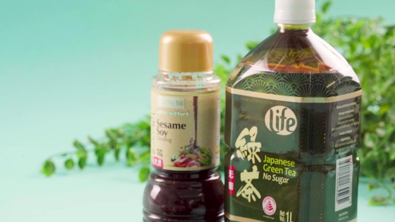 NTUC FairPrice Life Green Tea and Golden Chef Sesame Soy Seasoning