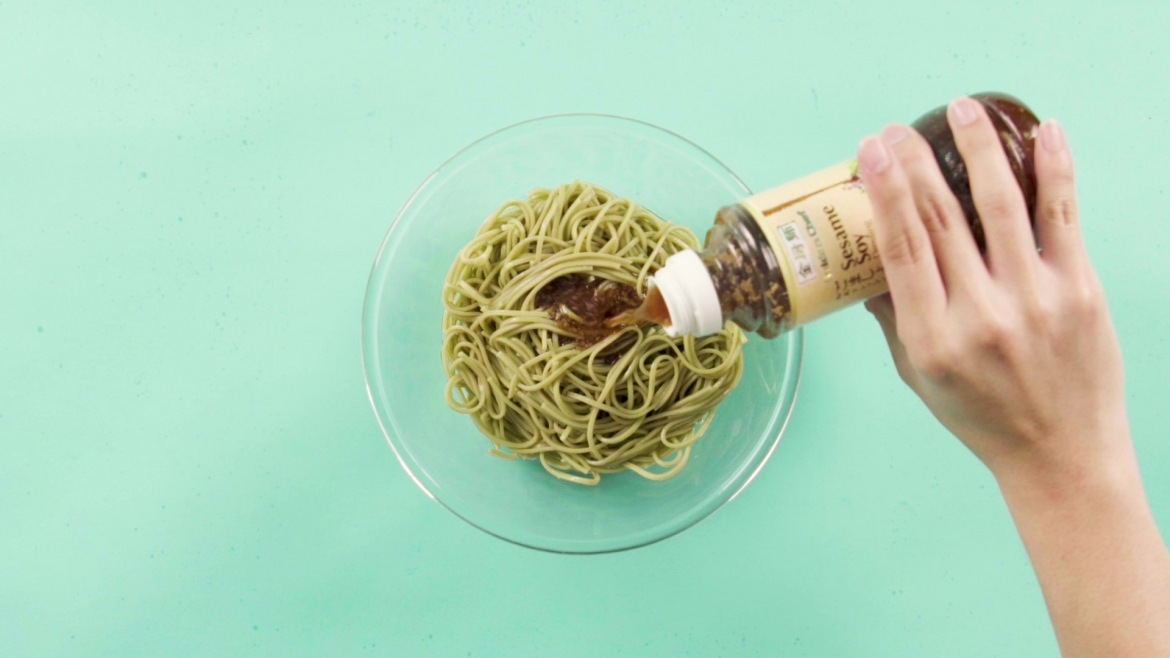 Golden Chef Sesame Soy Dressing added into Soba noodle, available at NTUC FairPrice