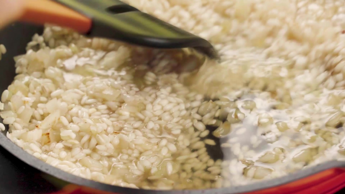 Stirring risotto with spatula