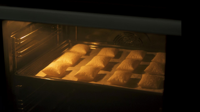 Baked puffy puff pastry in oven