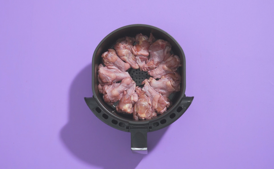 Do not overlay the raw chicken when you are air frying the drumettes