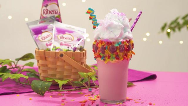 Ribena Rainbow Milkshake with fruity pebbles and cotton candy